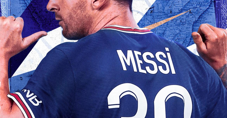 Lionel Messi representé avec un maillot du PSG floqué du numéro 30.