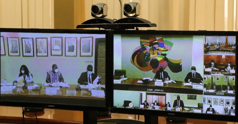 Les ministres de l'UEMOA en visioconférence.
